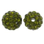 Diamant i rremë balta Beads hapë, Argjilë, Round, asnjë, me diamant i rremë, jeshile ulliri, 10mm, : 1.5mm, 50PC/Qese,  Qese
