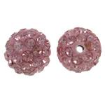 Diamant i rremë balta Beads hapë, Argjilë, Round, asnjë, me diamant i rremë, trëndafili dritë, 10mm, : 1.5mm, 50PC/Qese,  Qese