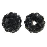 Diamant i rremë balta Beads hapë, Argjilë, Round, asnjë, me diamant i rremë, e zezë, 8mm, : 1.5mm, 50PC/Qese,  Qese