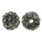 Diamant i rremë balta Beads hapë, Argjilë, Round, asnjë, me diamant i rremë, Jet kuqe e mbylltë, 8mm, : 1.5mm, 50PC/Qese,  Qese