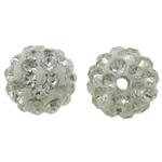Diamant i rremë balta Beads hapë, Argjilë, Round, asnjë, me diamant i rremë, e bardhë, 10mm, : 2mm, 50PC/Qese,  Qese