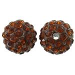 Diamant i rremë balta Beads hapë, Argjilë, Round, asnjë, me diamant i rremë, cirk, 10mm, : 2mm, 50PC/Qese,  Qese