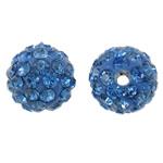 Diamant i rremë balta Beads hapë, Argjilë, Round, asnjë, me diamant i rremë, blu, 10mm, : 2mm, 50PC/Qese,  Qese