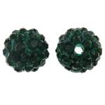 Diamant i rremë balta Beads hapë, Argjilë, Round, asnjë, me diamant i rremë, jeshile të thellë, 10mm, : 2mm, 50PC/Qese,  Qese