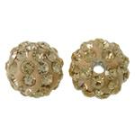 Diamant i rremë balta Beads hapë, Argjilë, Round, asnjë, me diamant i rremë, krem të verdhë, 10mm, : 2mm, 50PC/Qese,  Qese