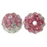 Strass Ton befestigte Perlen, rund, mit Strass, 10mm, Bohrung:ca. 2mm, 50PCs/Tasche, verkauft von Tasche
