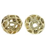 Beads aliazh zink Hollow, Alloy zink, Round, ngjyrë ari praruar, i uritur, asnjë, , nikel çojë \x26amp; kadmium falas, 11.5x10.5mm, : 3mm, 20PC/Qese,  Qese