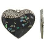 Pendants Heart Zink Alloy, Alloy zink, with Shell Guaskë, Zemër, Ngjyra antike argjendi praruar, smalt & me diamant i rremë, asnjë, , nikel çojë \x26amp; kadmium falas, 50.50x44x4mm, : 2x3mm, 10PC/Qese,  Qese