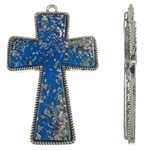 Alloy zink Pendants Kryqi, with Rrëshirë, Ngjyra antike argjendi praruar, asnjë, blu, , nikel çojë \x26amp; kadmium falas, 63x101x7mm, : 5mm, 10PC/Qese,  Qese