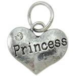 Pendants Heart Zink Alloy, Alloy zink, with Hekur, Zemër, Ngjyra antike argjendi praruar, me diamant i rremë, asnjë, , nikel çojë \x26amp; kadmium falas, 16x13.50x3mm, : 6mm, 10PC/Qese,  Qese