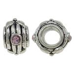 Beads European aliazh zink, Alloy zink, Daulle, Ngjyra antike argjendi praruar, pa karrem & me diamant i rremë, asnjë, , nikel çojë \x26amp; kadmium falas, 13x8mm, : 5mm, 10PC/Qese,  Qese