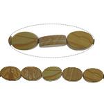 Holzmaserung Stein Perlen, Grain Stein, flachoval, 12x8x4mm, Bohrung:ca. 1.2mm, ca. 33PCs/Strang, verkauft per ca. 16 ZollInch Strang