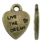 Pendants Heart Zink Alloy, Alloy zink, Zemër, Ngjyra antike bronz i praruar, asnjë, asnjë, , nikel çojë \x26amp; kadmium falas, 9x12x2mm, : 1.5mm, 1420PC/KG,  KG