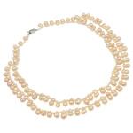 Natyrore ujërave të ëmbla Pearl gjerdan, Pearl kulturuar ujërave të ëmbla, Shape Tjera, natyror, 2-fije floku, rozë, 7-8mm, :17Inç,  17Inç,