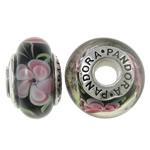 Lampwork Style European, Rondelle, punuar me dorë, core cupronickel vetme me karrem & lule e brendshme, asnjë, 15x9mm, : 4.5mm, 10PC/Qese,  Qese