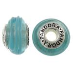 Lampwork Style European, Rondelle, punuar me dorë, core cupronickel vetme me karrem, dritë blu, 15x9mm, : 4.5mm, 10PC/Qese,  Qese