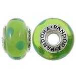 Lampwork Style European, Rondelle, punuar me dorë, core cupronickel vetme me karrem, e gjelbër, 15x9mm, : 4.5mm, 10PC/Qese,  Qese