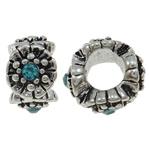 Beads European aliazh zink, Alloy zink, Daulle, Ngjyra antike argjendi praruar, pa karrem & me diamant i rremë, asnjë, , nikel çojë \x26amp; kadmium falas, 10x6.5mm, : 5mm, 10PC/Qese,  Qese