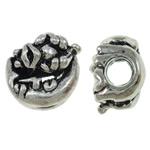 Beads European aliazh zink, Alloy zink, Shape Tjera, Ngjyra antike argjendi praruar, pa karrem, asnjë, , nikel çojë \x26amp; kadmium falas, 12x12.50x8mm, : 4.5mm, 10PC/Qese,  Qese