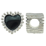 Beads European aliazh zink, Alloy zink, Zemër, Ngjyra argjend praruar, pa karrem & smalt, asnjë, , nikel çojë \x26amp; kadmium falas, 10.50x11x9mm, : 4.5mm, 10PC/Qese,  Qese
