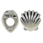 Zink Legierung Europa Perlen, Zinklegierung, Schale, antik silberfarben plattiert, ohne troll, frei von Nickel, Blei & Kadmium, 11x12x9mm, Bohrung:ca. 4.5mm, 10PCs/Tasche, verkauft von Tasche