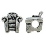 Beads European aliazh zink, Alloy zink, Divan, Ngjyra antike argjendi praruar, pa karrem, asnjë, , nikel çojë \x26amp; kadmium falas, 12x13.50x10.50mm, : 4.5mm, 10PC/Qese,  Qese