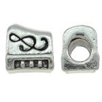 Beads European aliazh zink, Alloy zink, Shape Tjera, Ngjyra antike argjendi praruar, pa karrem, asnjë, , nikel çojë \x26amp; kadmium falas, 11.50x13x8.50mm, : 5mm, 10PC/Qese,  Qese