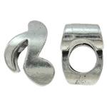 Beads European aliazh zink, Alloy zink, Shënim Music, Ngjyra antike argjendi praruar, pa karrem, asnjë, , nikel çojë \x26amp; kadmium falas, 8x11x7mm, : 4.5mm, 10PC/Qese,  Qese