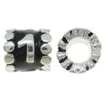 Beads European aliazh zink, Alloy zink, Tub, Ngjyra argjend praruar, pa karrem & smalt, asnjë, , nikel çojë \x26amp; kadmium falas, 9x9mm, : 5mm, 10PC/Qese,  Qese