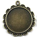 Zink Alloy varëse Setting, Alloy zink, Lule, Ngjyra antike bronz i praruar, asnjë, asnjë, , nikel çojë \x26amp; kadmium falas, 32x32mm, : 2mm, : 25mm, 80PC/Qese,  Qese