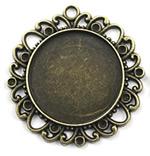Zink Alloy varëse Setting, Alloy zink, Lule, Ngjyra antike bronz i praruar, asnjë, asnjë, , nikel çojë \x26amp; kadmium falas, 38x38mm, : 2mm, : 25mm, 80PC/Qese,  Qese