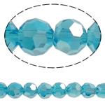 Beads Round Crystal, Kristal, Ngjyra AB kromuar, faceted & imitim kristal Swarovski, Indicolite, 6mm, : 1mm, : 20.8Inç, 10Fillesat/Qese, approx100Pcs/Strand,  Qese