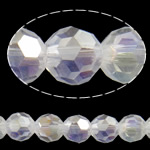 Beads Round Crystal, Kristal, Ngjyra AB kromuar, faceted & imitim kristal Swarovski, Kristal, 6mm, : 1mm, : 22.4Inç, 10Fillesat/Qese, approx110Pcs/Strand,  Qese