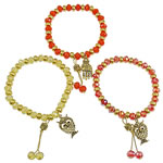 CCB Crystal Bracelets, with zinc alloy owl charm, antique gold color plated, mixed, nickel, lead & cadmium free, 7x5.5mm, Approx 12Strands/Bag, Length:7.5 Inch, Sold by Bag