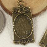 Zink Alloy varëse Setting, Alloy zink, Drejtkëndësh, Ngjyra antike bronz i praruar, asnjë, asnjë, , nikel çojë \x26amp; kadmium falas, 28x12.50mm, : 2mm, : 10x14mm, 100PC/Qese,  Qese
