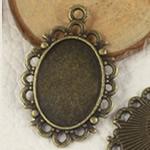 Zink Alloy varëse Setting, Alloy zink, Oval Flat, Ngjyra antike bronz i praruar, asnjë, asnjë, , nikel çojë \x26amp; kadmium falas, 30x19.50mm, : 2mm, : 13x18mm, 300PC/Qese,  Qese