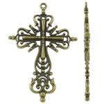 Alloy zink Pendants Kryqi, Ngjyra antike bronz i praruar, i uritur, asnjë, , nikel çojë \x26amp; kadmium falas, 42.50x63.50x4mm, : 2.5mm, 110PC/KG,  KG