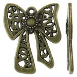 Pendants Zink Alloy, Alloy zink, Bowknot, Ngjyra antike bronz i praruar, i uritur, asnjë, , nikel çojë \x26amp; kadmium falas, 21x24x2.50mm, : 1.5mm, 500PC/KG,  KG
