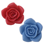 Flower Resin Beads, half-drilled & solid color, more colors for choice, 26x26x12mm, Hole:Approx 3mm, Sold By PC
