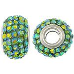 European Harz Perlen, Rondell, Platinfarbe platiniert, AB Farbe & Messing-Dual-Core ohne troll & mit Strass, 10x15mm, Bohrung:ca. 5mm, 50PCs/Menge, verkauft von Menge