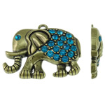 Zinklegierung Tier Anhänger, Elephant, antike Bronzefarbe plattiert, mit Strass, frei von Nickel, Blei & Kadmium, 52x43x9mm, Bohrung:ca. 4mm, 10PCs/Tasche, verkauft von Tasche