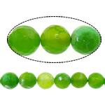 Natürliche Feuerachat Perlen, rund, verschiedene Größen vorhanden & facettierte, grün, Bohrung:ca. 1-1.2mm, verkauft per ca. 15 ZollInch Strang