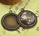 Zink-Legierung Cabochon Weissgold, Zinklegierung, flache Runde, antike Bronzefarbe plattiert, frei von Nickel, Blei & Kadmium, 25mm, Bohrung:ca. 2mm, Innendurchmesser:ca. 20mm, 150PCs/Tasche, verkauft von Tasche