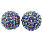 Harz Strass Perlen, rund, bunte Farbe plattiert, 20x18mm, Bohrung:ca. 2.5mm, 10PCs/Tasche, verkauft von Tasche