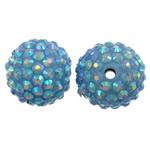 Harz Strass Perlen, rund, AB Farben platiniert, hellblau, 20x18mm, Bohrung:ca. 2.5mm, 10PCs/Tasche, verkauft von Tasche