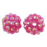 Harz Strass Perlen, Trommel, AB Farben platiniert, Rosa, 14x12mm, Bohrung:ca. 2mm, 10PCs/Tasche, verkauft von Tasche