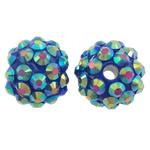 Harz Strass Perlen, Trommel, bunte Farbe plattiert, 14x12mm, Bohrung:ca. 2mm, 10PCs/Tasche, verkauft von Tasche