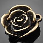 Zinklegierung Blume Anhänger, antike Bronzefarbe plattiert, frei von Nickel, Blei & Kadmium, 22.50x23mm, Bohrung:ca. 1.5-3mm, 200PCs/Tasche, verkauft von Tasche