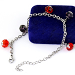 Edelstahl Schmuck Armband, mit Kristall, mit Verlängerungskettchen von 5cm, Armband  Bettelarmband & Oval-Kette, originale Farbe, 10mm, Länge:ca. 9 ZollInch, 5SträngeStrang/Tasche, verkauft von Tasche