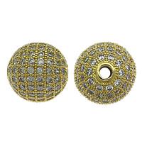 Befestigte Zirkonia Perlen, Messing, rund, vergoldet, Micro pave Zirkonia, frei von Nickel, Blei & Kadmium, 10mm, Bohrung:ca. 1.8mm, 10PCs/Menge, verkauft von Menge